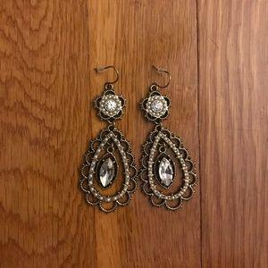 Pearl + Crystal Floral Filigree Earrings